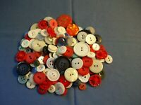 Lg lot Vintage Fancy Patriotic red, white, blue, sewing buttons