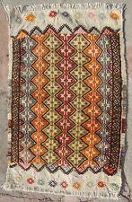 Small Kilim, Vintage Kilim, White Multicolors Rug, Anatolian Rug, 45x70/1'5x2'3