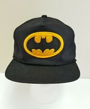 Vtg DC Comics Batman Patch Snapback Hat Baseball Cap Black Yellow Cord