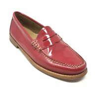 Women's GH Bass & Co Weejuns Penny Loafers Shoes Size 6.5 Red Patent Leather K3