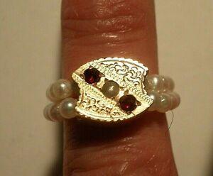 Flexible Ring A+ Round Pearls Reversible Antique Garnet/Pearl Slide Sz. 6