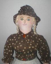 "Vintage 20"" hard stuffed cloth female artist doll VGC"