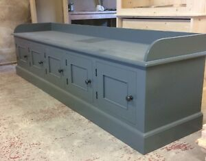 Painted Gallery Window Seat with 5 cupboards