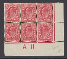 Block of 6 GB KEVII 1d Rose-Red SG280 Control A11 Mint No Gum Stamps 15x14