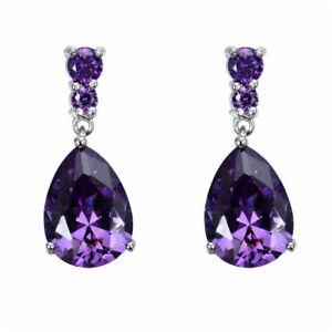 Fashion Women's Silver purple Zircon Stud Drop Hoop Earrings Valentine's Day gif