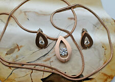 Tear Drop Stainless Steel Diamond Necklace Rose Gold Tone with Matching Earrings