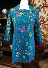 NOMADS FAIRTRADE Colourful Teal Retro Floral Print Woven Cotton Boho Coat UK 12