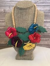 Vintage Wood Floral Necklace Bright Colors Vacation Fashion Jewelry