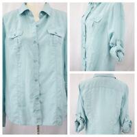 Tommy Bahama Women's Button Front Shirt Blouse Silk Aqua Roll Tab Long Sleeve M