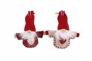 Cute Felt Hanging Santas - Christmas Tree Decoration - Set of 2
