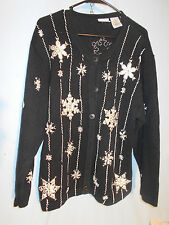 WOMENS UGLY CHRISTMAS SWEATER CARDIGAN glittery SNOWFLAKES XL