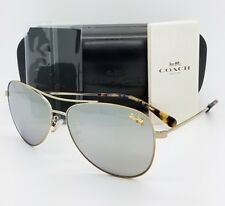 fd69e8ab42 New Coach sunglasses HC7079 9322Z3 58mm Gold Silver Aviator Pilot AUTHENTIC  7079