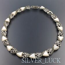"""Sterling Silver Mother Of Pearl Marcasite Ornate Panel Necklace 18.5"""" #3543"""