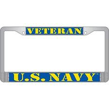 """US NAVY Veteran Metal Chrome License Plate Frame Blue Yellow """" Made in USA """""""