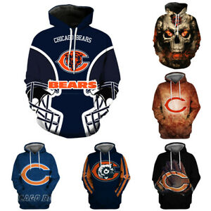 Chicago Bears Hoodie Football Pullover Sports Hooded Sweatshirt 3D Casual Jacket