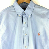 NWT Ralph Lauren BLUE Garment-Dyed Oxford Shirt Mens Size Large $89