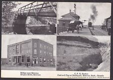 1910Vintage Postcard CPR Station Bridge & Empire Hotel near ESTEVAN Saskatchewan