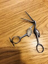 19th Century Novelty Sterling Pair Of 84 Silver Stork Baby Umbilical Cord Tongs