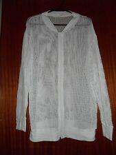 AMERICAN APPAREL  cotton mesh zip up top / jacket, white size S