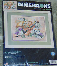 Dimensions Stamped Cross Stitch Kit 3210 - Floral Harmony - Violin Tuba Flowers