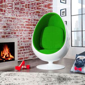 Retro Egg Pod Chair Swivel Chair Green Interior White Fiber Glass-Reinforced