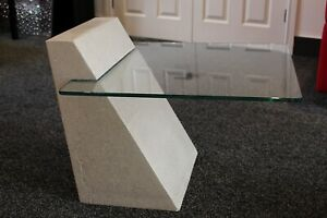 Handmade White Polished Concrete and Cantilevered Glass Coffee Table