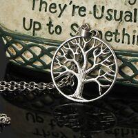 Silver Tone Tree Of Life Sacred Oak Pendant Spiritual Necklace in Gift Bag/Box