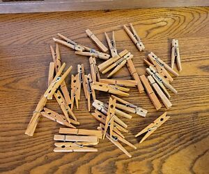 Vintage Old Polishe Wood Clothespins Spring Loaded - Lot of 36 - Arts and Crafts