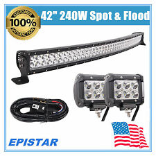 "42"" INCH 240W LED CURVED LIGHT BAR COMBO SUV OFFROAD 18W CREE FOG LAMP WIRING 44"