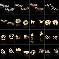 Women Cute Elephant Butterfly Ear Stud Earrings Stainless Steel Aretes Jewelry