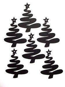 10 Silhouette Swirling Christmas Tree Die Cuts, Black