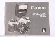 Canon Speedlite 188A Flash Instruction Manual Book - English - USED B66