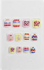 Children's False Nails KIDS Full Cover Patterned OWLS + Zig Zag + Diamond Design