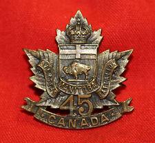 C.E.F 45th Inf Bttln MANITOBA REGIMENT Collar Badge - Inglis - Pin back