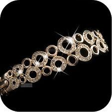 18k ROSE gold gf made with SWAROVSKI crystal circle ring bangle bracelet