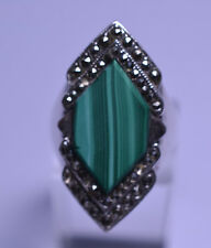 STERLING SILVER ART DECO STYLE MALACHITE RING WITH MARCASITE ACCENTS SIZE 6.25