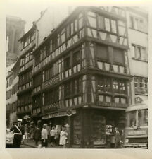 PHOTO ANCIENNE - VINTAGE SNAPSHOT - STRASBOURG RESTAURANT BOLLINGER POLICE BUS