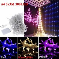 Icicle Star Hanging Snowing Fairy Lights Curtain Christmas Wedding Outdoor Lamps