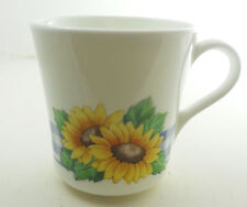 Corning Corelle Sunsations Flat Cup Blue Gingham Plaid Yellow Sunflowers