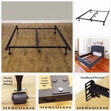 Heavy Duty Metal Bed Frame Adjustable Twin Full Queen King Platform W/Roller