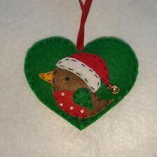 Xmas heart with Robin christmas Tree Ornament handmade felt decoration