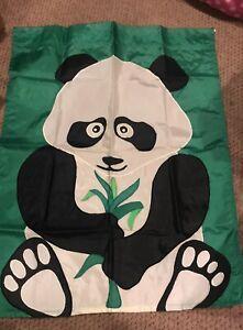 PANDA BEAR 28 x 38 FLAG WITH SLEEVE~REVERSIBLE EUC!!!