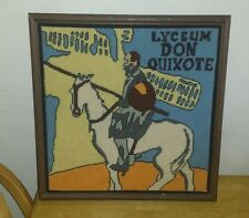 Vintage Needlepoint  Embroidered Picture - LYCEUM DON QUIXOTE - One Of A Kind