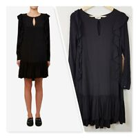 [ SEED HERITAGE ] Womens Frill Detail Black Dress | Size AU 6 or US 2