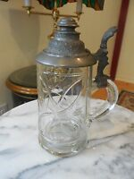 Antique 19th C. German Cut Glass/Etched 1/2 Liter Beer Stein