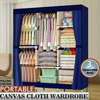 "71"" Portable Clothes Storage Closet Shelf Non-Woven Wardrobe Rack Organizers"