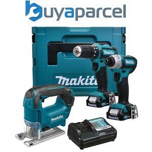 Makita 12v CXT 3pc Kit Combi Hammer Drill + Impact Driver + Jigsaw 2 Battery