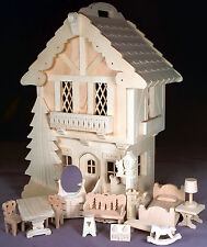 Woodworking plans for a deluxe Bavarian style miniature house with furniture