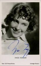 German Actress INGE EGGER Vintage Signed Photo
