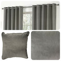 Fusion SORBONNE - Charcoal Grey 100% Cotton Eyelet Curtain / Cushions